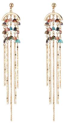 Black Diamond ACCESSORIES Stone Beaded Chain Fringe Earrings