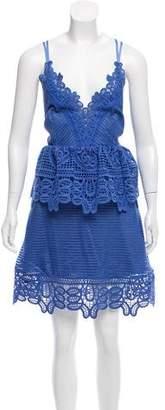 Self-Portrait Guipure Lace-Trimmed Mini Dress