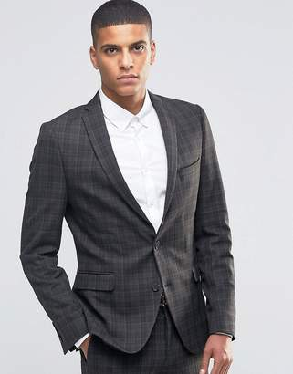 Selected Check Blazer in Skinny Fit with Stretch