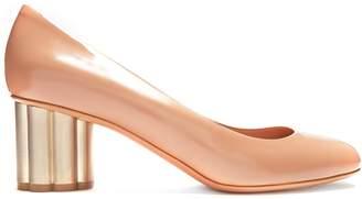 SALVATORE FERRAGAMO Lucca flower-heel patent-leather pumps $452 thestylecure.com