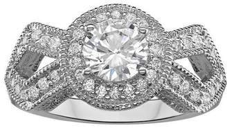Generic Silvertone Regal Halo CZ Solitaire Engagement Ring