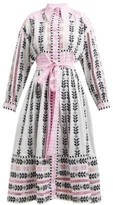 Dodo Bar Or Constanza Geometric Embroidered Cotton Midi Dress - Womens - Pink Multi