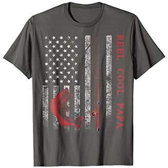 Mens Reel Cool Papa American Flag TShirt Fishing Shirt Gift