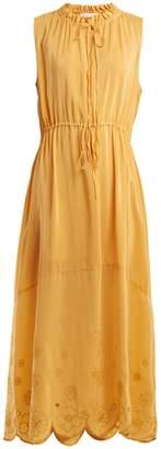 See by Chloe Embroidered drawstring chiffon dress