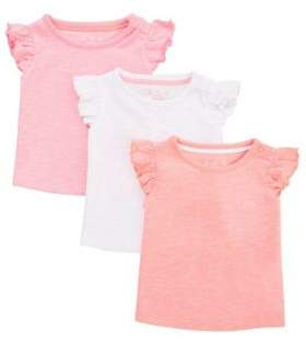 F&F 3 Pack Of Plain Frill T-Shirts 0-1 months