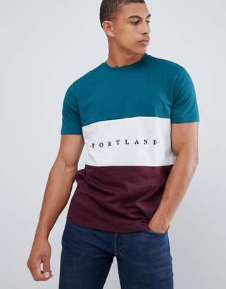 New Look color block t-shirt with portland embroidery in green
