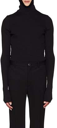 Balenciaga Men's Rib-Knit Hooded Top - Black