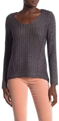 Modern Designer Mixed Stitch V-Neck Pullover Sweater
