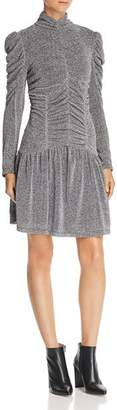 Rebecca Taylor Ruched Metallic-Knit Dress