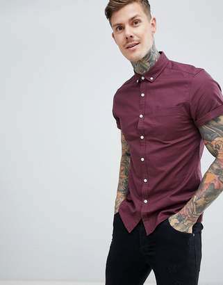 Asos Design DESIGN slim oxford shirt in burgundy with short sleeves