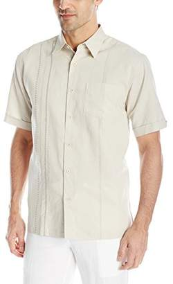 Cubavera Men's Short Sleeve Cotton-Blend Shirt with Geometric Embroidery Detail