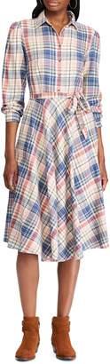 Chaps Plaid Cotton Fit-&-Flare Dress