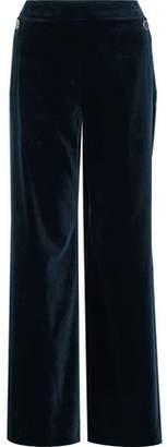 Temperley London Opus Button-embellished Cotton-blend Velvet Wide-leg Pants