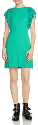 Maje Rolana Pleated-Shoulder Mini Dress