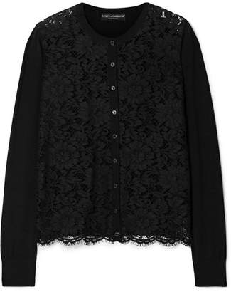 Dolce & Gabbana Corded Lace And Wool-blend Top - Black