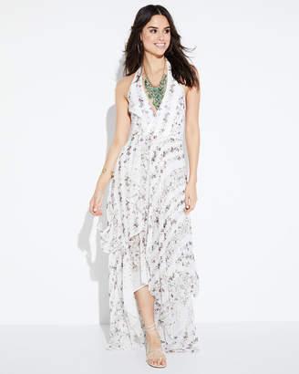 BCBGMAXAZRIA Halter-Neck Ruffled-Floral Maxi Dress