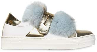 Simonetta Nappa Leather Sneakers W/ Lapin Fur
