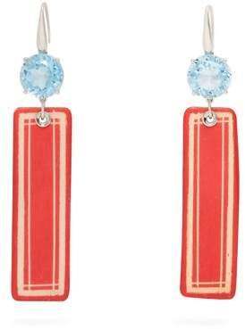 Francesca Villa Topaz & White Gold Easy Living Earrings - Womens - Red