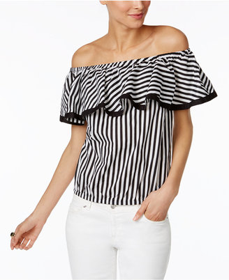 INC International Concepts Cotton Ruffled Off-The-Shoulder Top, Only at Macy's $59.50 thestylecure.com
