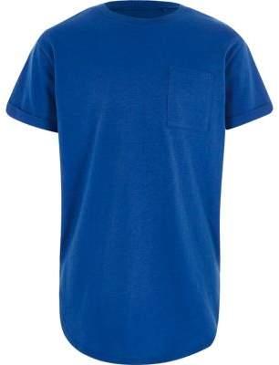 River Island Boys blue curved hem t-shirt