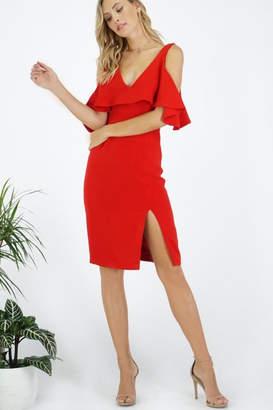 Greylin Deep-V Cold-Shoulder Dress
