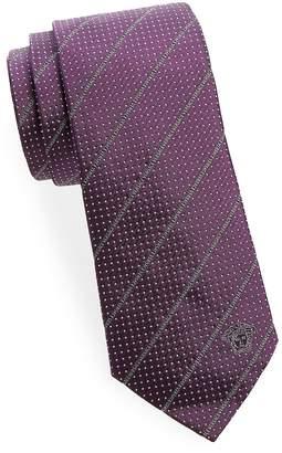 Versace Men's Dot And Logo Silk Tie