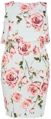 Quiz Curve Mint & Pink Floral Print Overlay Dress