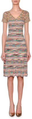 Missoni V-Neck Short-Sleeve Striped Space-dye Dress