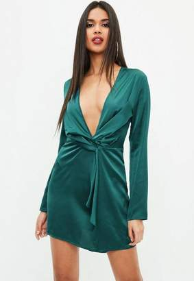 Missguided Green Silky Plunge Wrap Shift Dress