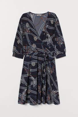 H&M V-neck Jersey Dress - Blue