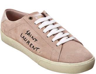 Saint Laurent Signature Court Classic Logo Suede Sneaker