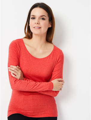 George Coral Scoop Neck Top