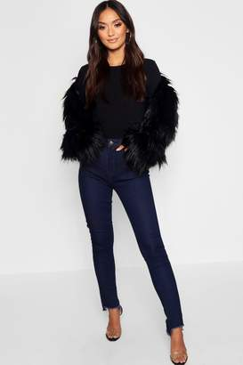 boohoo Petite High Rise Straight Leg Step Hem Jean