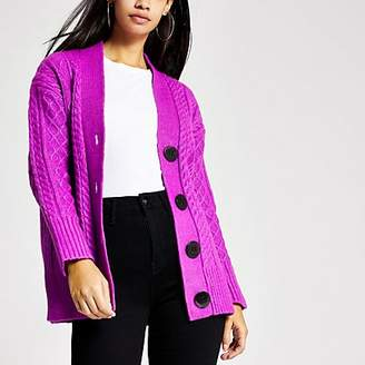 River Island Purple cable knitted oversized cardigan