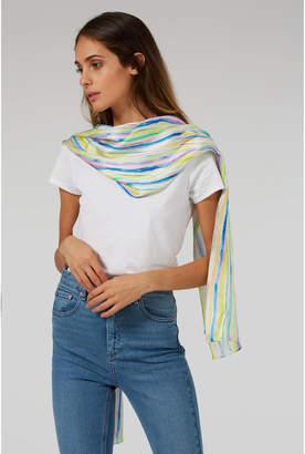 Sorbet Also the Bison Stripe Print Luxury Silk Scarf