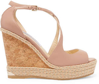 Jimmy Choo Dakota 120 Leather Wedge Sandals - Antique rose