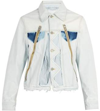 Maison Margiela - Raw Edged Denim Jacket - Mens - Light Blue