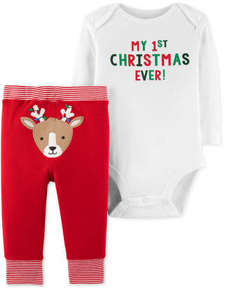 Carter's Baby Boys 2-Pc. Holiday Cotton Bodysuit & Reindeer Pants Set