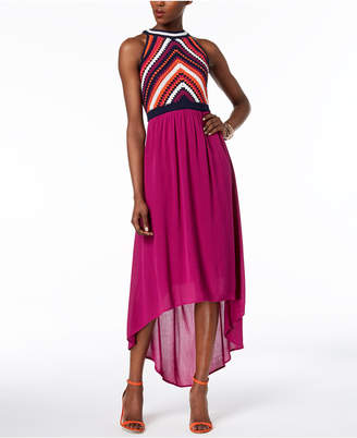 Sangria High-Low Crochet-Contrast Dress