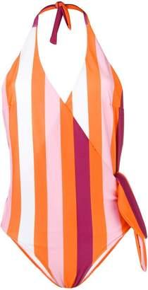 MSGM striped halter neck swimsuit