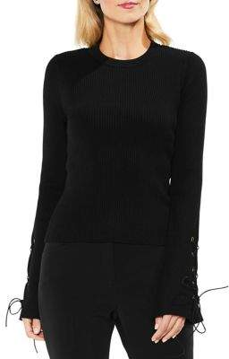 Vince Camuto Lace-Up Bell-Sleeve Ribbed Cotton Sweater