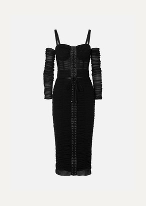 Dolce & Gabbana Cold-shoulder Lace-up Stretch-tulle Midi Dress - Black