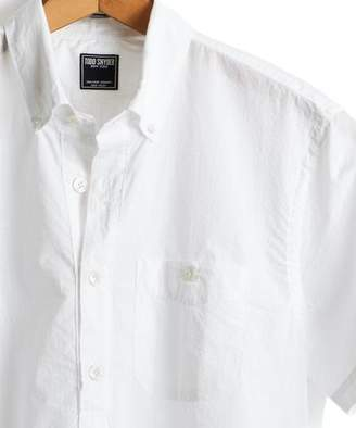 Todd Snyder Short Sleeve Seersucker Popover Shirt in White