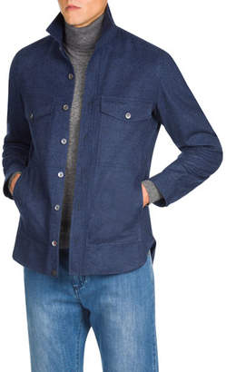 Isaia Men's Wool Button-Down Shirt