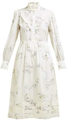 A.P.C. Nicks Floral Print Ruffled Cotton Dress - Womens - White Multi