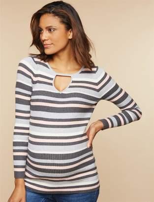 Motherhood Maternity Stripe Cutout Maternity Sweater