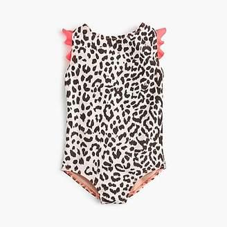 J.Crew Girls' flutter-sleeve one-piece swimsuit in leopard