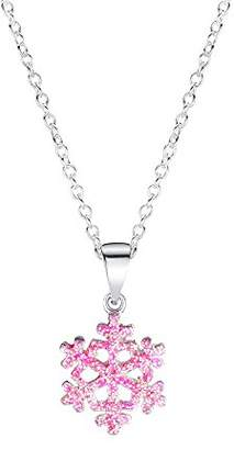 Jo for Girls Sterling Silver Pink Glitter Snowflake Pendant on 35.5cm Chain