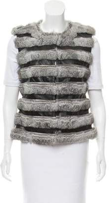 Diane von Furstenberg Neo Leather and Fur Vest