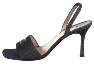 Chanel CC Denim Slingback Sandals